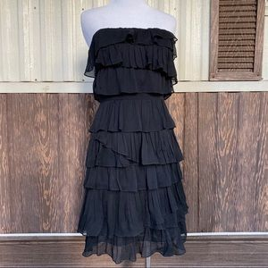 J. Crew 100% silk tiered strapless dress black 0